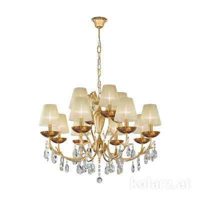 3003.88+4.3.KoT/me30 24 Carat Gold, Ø80cm, Height 60cm, Min. height 80cm, Max. height 120cm, 12 lights, E14