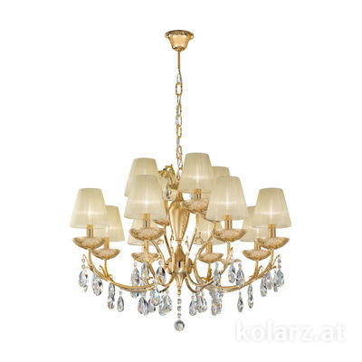 3003.88+4.3.KoT/tc10 24 Carat Gold, Ø80cm, Height 60cm, Min. height 80cm, Max. height 120cm, 12 lights, E14