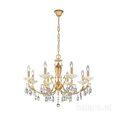 3003.88.3.KoT/al30 24 Carat Gold, Ø80cm, Height 55cm, Min. height 75cm, Max. height 105cm, 8 lights, E14