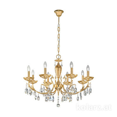 3003.88.3.KoT/aq21 24 Carat Gold, Ø80cm, Height 55cm, Min. height 75cm, Max. height 105cm, 8 lights, E14