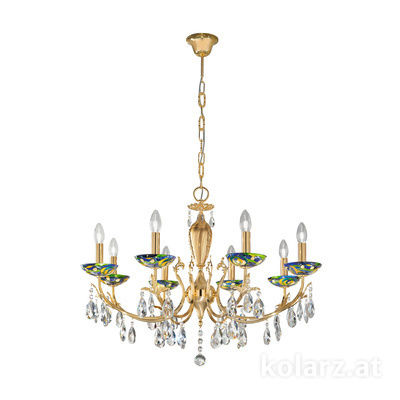 3003.88.3.KoT/aq70 24 Carat Gold, Ø80cm, Height 55cm, Min. height 75cm, Max. height 105cm, 8 lights, E14