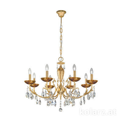3003.88.3.KoT/me30 24 Carat Gold, Ø80cm, Height 55cm, Min. height 75cm, Max. height 105cm, 8 lights, E14