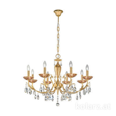 3003.88.3.KoT/tc40 24 Carat Gold, Ø80cm, Height 55cm, Min. height 75cm, Max. height 105cm, 8 lights, E14