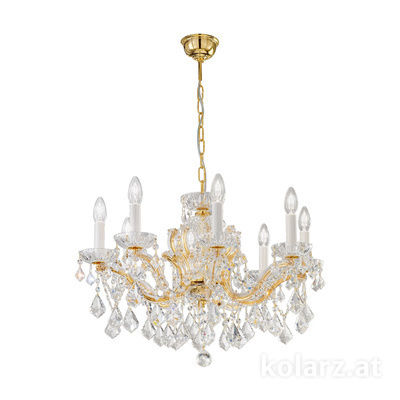 3149.88.3.KoT 24 Karat Gold, Ø66cm, Höhe 46cm, Min. Höhe 66cm, Max. Höhe 111cm, 8-flammig, E14