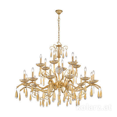 3234.818.3.KoT/aq21 24 Carat Gold, Ø125cm, Height 110cm, Min. height 130cm, Max. height 160cm, 18 lights, E14