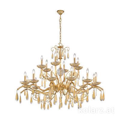 3234.818.3.KoT/aq21 24 Karat Gold, Ø125cm, Höhe 110cm, Min. Höhe 130cm, Max. Höhe 160cm, 18-flammig, E14