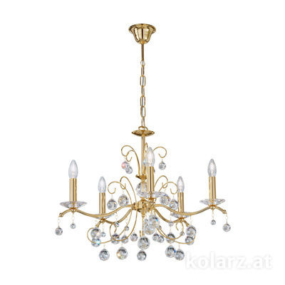 3234.85.3.KoT 24 Carat Gold, Ø65cm, Height 52cm, Min. height 72cm, Max. height 105cm, 5 lights, E14