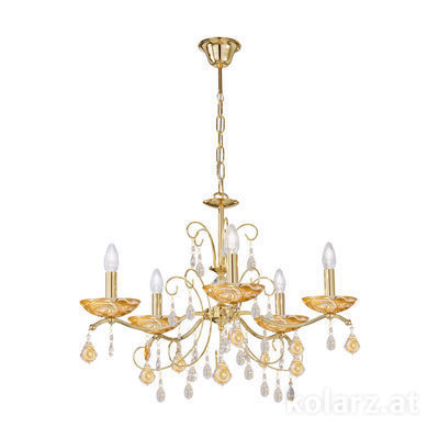 3234.85.3.WKpT/aq21 24 Carat Gold, Ø65cm, Height 52cm, Min. height 72cm, Max. height 105cm, 5 lights, E14