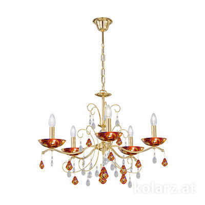 3234.85.3.WKpT/aq40 24 Carat Gold, Ø65cm, Height 52cm, Min. height 72cm, Max. height 105cm, 5 lights, E14