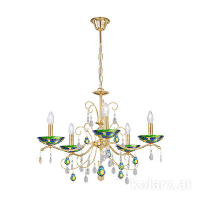 3234.85.3.WKpT/aq70 24 Carat Gold, Ø65cm, Height 52cm, Min. height 72cm, Max. height 105cm, 5 lights, E14