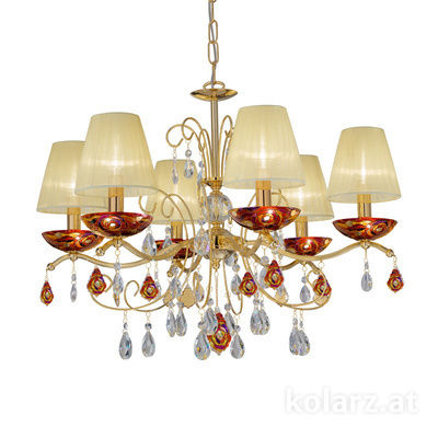 3234.86.3.WKpT/aq40 24 Carat Gold, Ø66cm, Height 52cm, Min. height 72cm, Max. height 105cm, 6 lights, E14
