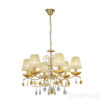 3234.86.3.WKpT/ki30 24 Carat Gold, Ø66cm, Height 52cm, Min. height 72cm, Max. height 105cm, 6 lights, E14