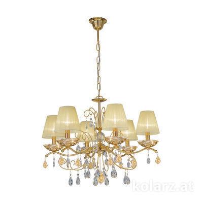 3234.86.3.WKpt/aq21 24 Karat Gold, Ø66cm, Höhe 52cm, Min. Höhe 72cm, Max. Höhe 105cm, 6-flammig, E14