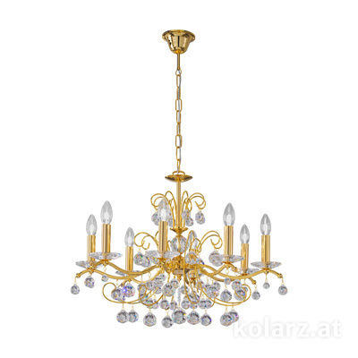 3234.88.3.KoT 24 Carat Gold, Ø70cm, Height 52cm, Min. height 72cm, Max. height 105cm, 8 lights, E14