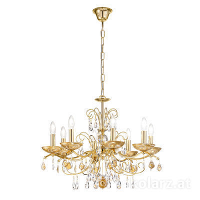 3234.88.3.WKpT/aq21 24 Carat Gold, Ø70cm, Height 52cm, Min. height 72cm, Max. height 105cm, 8 lights, E14