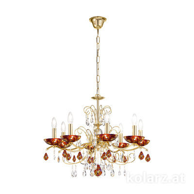 3234.88.3.WKpT/aq40 24 Carat Gold, Ø70cm, Height 52cm, Min. height 72cm, Max. height 105cm, 8 lights, E14