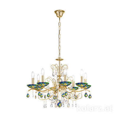 3234.88.3.WKpT/aq70 24 Carat Gold, Ø70cm, Height 52cm, Min. height 72cm, Max. height 105cm, 8 lights, E14