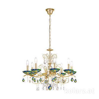 3234.88.3.WKpT/aq70 24 Carat Gold, Ø70cm, Height 52cm, Min. height 72cm, Max. height 105cm, 8 lights, E14