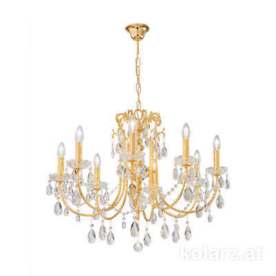 3278.88.3.KoT 24 Carat Gold, Ø6700cm, Height 6100cm, Min. height 8100cm, Max. height 12600cm, 8 lights, E14