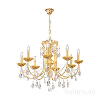 3278.88.3.KoT/ki30 24 Carat Gold, Ø67cm, Min. height 52cm, Max. height 105cm, 8 lights, E14