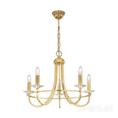 330.85.8C Engl. Brass, Ø62cm, Height 48cm, Min. height 69cm, Max. height 114cm, 5 lights, E14