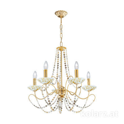 3354.85.3.ETGn.Al.Go 24 Carat Gold, Ø60cm, Height 55cm, Min. height 67cm, Max. height 113cm, 5 lights, E14