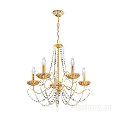 3354.85.3.ETGn.Li.GA 24 Carat Gold, Ø60cm, Height 55cm, Min. height 67cm, Max. height 113cm, 5 lights, E14