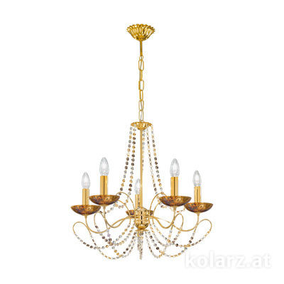 3354.85.3.ETGn.Me.Au 24 Carat Gold, Ø60cm, Height 55cm, Min. height 67cm, Max. height 113cm, 5 lights, E14