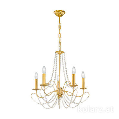 3354.85.3.KoT 24 Carat Gold, Ø60cm, Height 55cm, Min. height 67cm, Max. height 113cm, 5 lights, E14