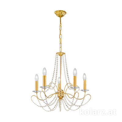 3354.85.3.KoT/KpT 24 Carat Gold, Ø60cm, Height 55cm, Min. height 67cm, Max. height 113cm, 5 lights, E14