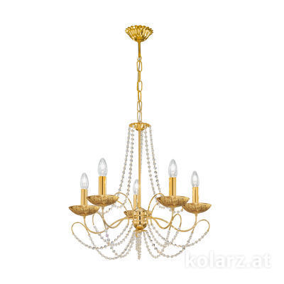 3354.85.3.KoT/li30 24 Carat Gold, Ø60cm, Height 55cm, Min. height 67cm, Max. height 113cm, 5 lights, E14