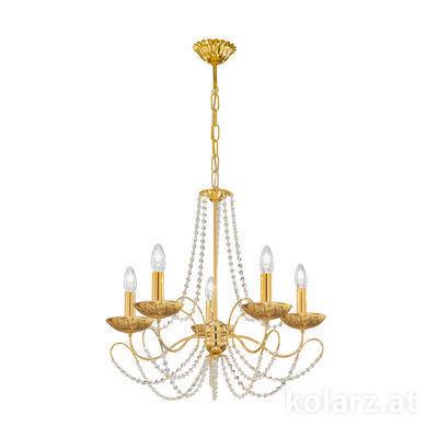 3354.85.3.KoT/li30 24 Karat Gold, Ø60cm, Höhe 55cm, Min. Höhe 67cm, Max. Höhe 113cm, 5-flammig, E14