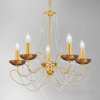 3354.85.3.KoT/me30 24 Carat Gold, Ø60cm, Height 55cm, Min. height 67cm, Max. height 113cm, 5 lights, E14