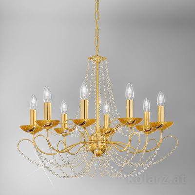 3354.88.3.ET.Ki.Au 24 Carat Gold, Ø77cm, Height 55cm, Min. height 67cm, Max. height 113cm, 8 lights, E14