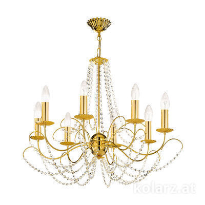 3354.88.3.KoT 24 Carat Gold, Ø77cm, Height 55cm, Min. height 67cm, Max. height 113cm, 8 lights, E14