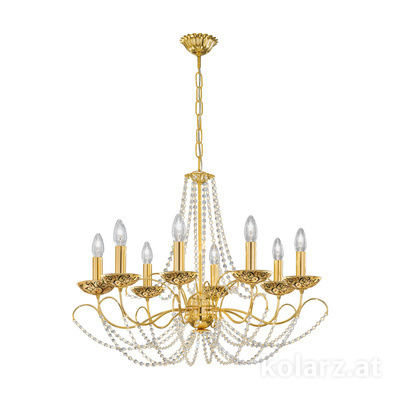 3354.88.3.KoT/al99 24 Carat Gold, Ø77cm, Height 55cm, Min. height 67cm, Max. height 113cm, 8 lights, E14