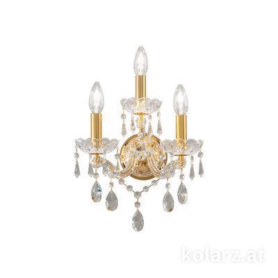 3844.63.3.SpT 24 Carat Gold, Width 28cm, Height 32cm, 3 lights, E14