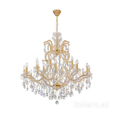 3844.812+6.3.SpT 24 Carat Gold, Ø90cm, Height 100cm, Min. height 125cm, Max. height 155cm, 12+6 lights, E14