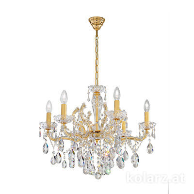 3844.86.3.SpT 24 Carat Gold, Ø60cm, Height 47cm, Min. height 67cm, Max. height 97cm, 6 lights, E14