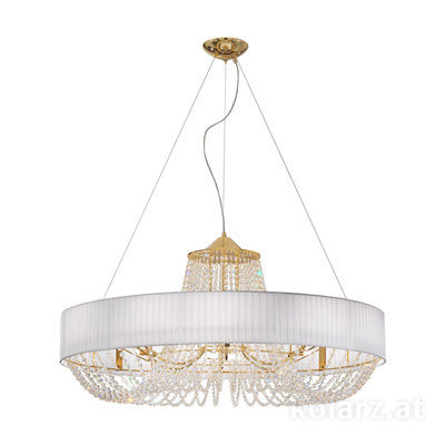 5020.31232.130/po10 24 Carat Gold, White, Ø80cm, Height 65cm, Min. height 95cm, Max. height 170cm, 12 lights, G9