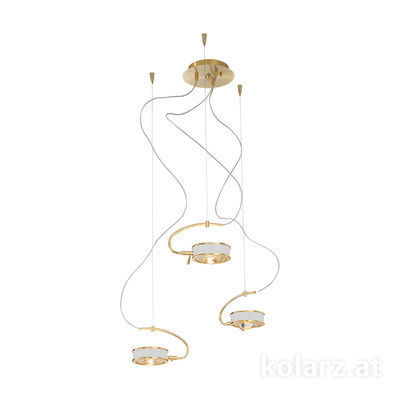 5030.30330.000/0010 24 Carat Gold, White, Ø40cm, Max. height 190cm, 3 lights, G9