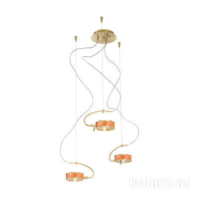 5030.30330.000/0043 24 Carat Gold, Copper, Ø40cm, Max. height 190cm, 3 lights, G9
