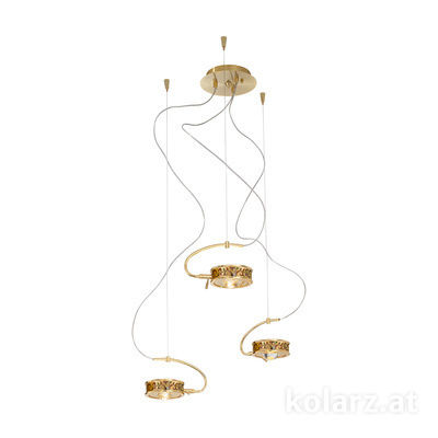 5030.30330.000/al99 24 Carat Gold, Ø40cm, Max. height 190cm, 3 lights, G9