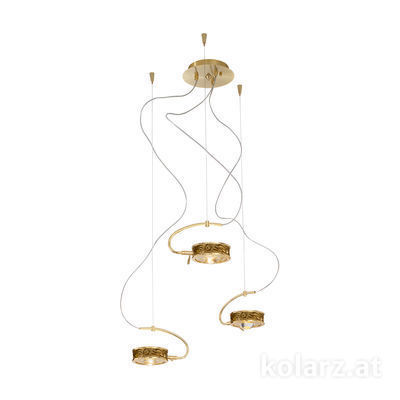 5030.30330.000/li30 24 Carat Gold, Ø40cm, Max. height 190cm, 3 lights, G9