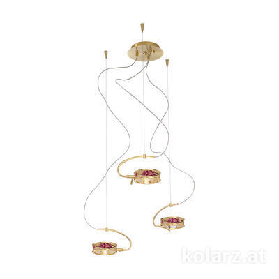 5030.30330.000/pr30 24 Carat Gold, Ø40cm, Max. height 190cm, 3 lights, G9