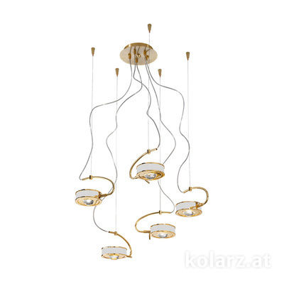 5030.30530.000/0010 24 Carat Gold, White, Ø60cm, Max. height 190cm, 5 lights, G9