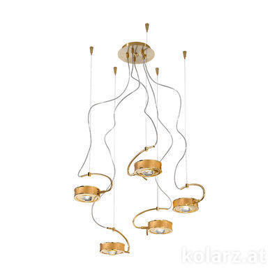 5030.30530.000/0030 24 Carat Gold, Gold, Ø60cm, Max. height 190cm, 5 lights, G9