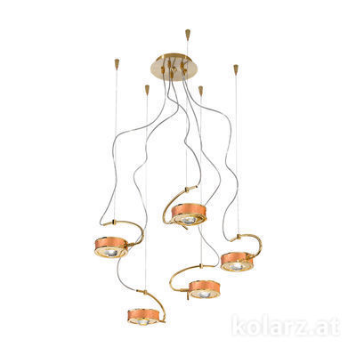 5030.30530.000/0043 24 Carat Gold, Copper, Ø60cm, Max. height 190cm, 5 lights, G9