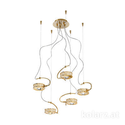 5030.30530.000/al30 24 Carat Gold, Ø60cm, Max. height 190cm, 5 lights, G9