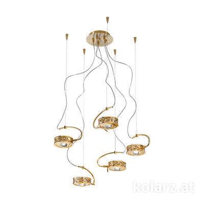 5030.30530.000/al99 24 Karat Gold, Ø60cm, Max. Höhe 190cm, 5-flammig, G9